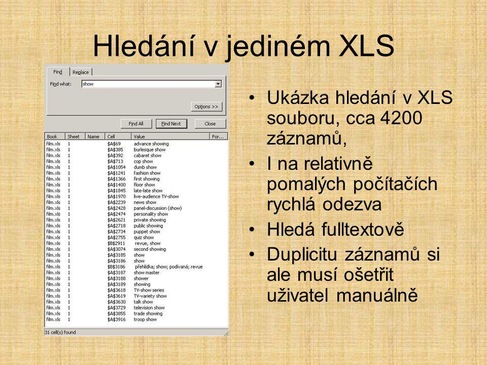 Hledání v jediném XLS •Ukázka hledání v XLS souboru, cca 4200 záznamů, •I na relativně pomalých počítačích rychlá odezva •Hledá fulltextově •Duplicitu záznamů si ale musí ošetřit uživatel manuálně
