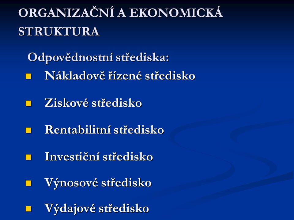  Nákladově řízené středisko  Ziskové středisko  Rentabilitní středisko  Investiční středisko  Výnosové středisko  Výdajové středisko Odpovědnost