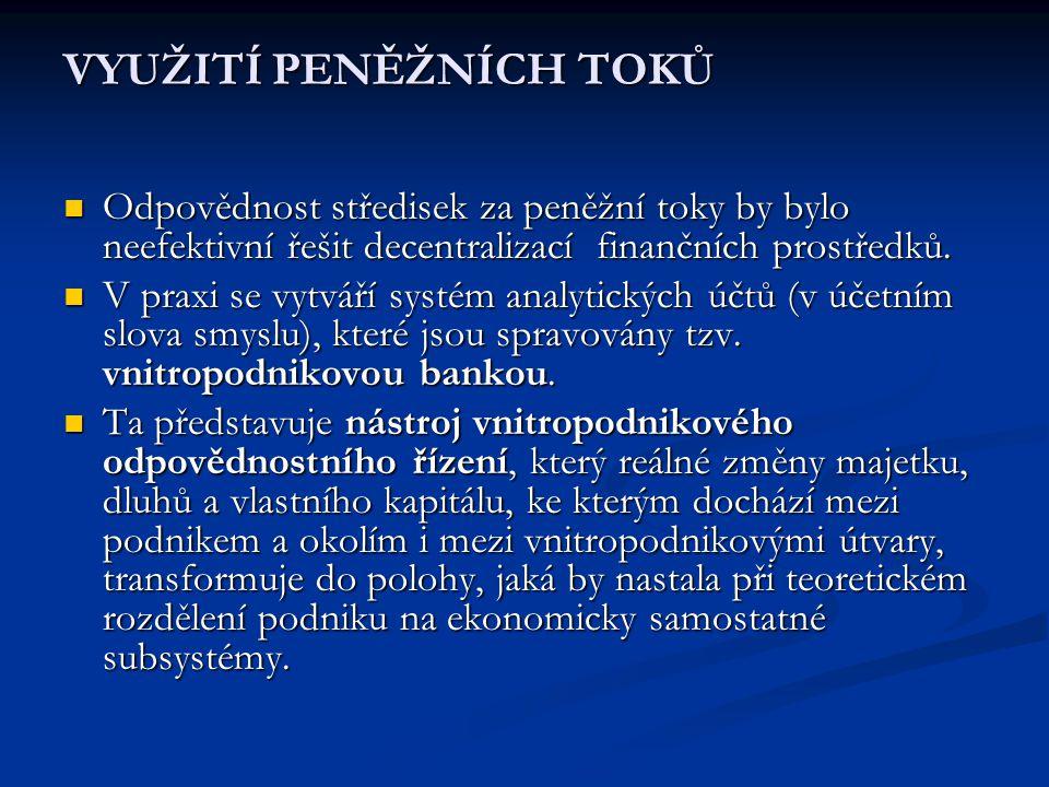 VYUŽITÍ PENĚŽNÍCH TOKŮ  Odpovědnost středisek za peněžní toky by bylo neefektivní řešit decentralizací finančních prostředků.  V praxi se vytváří sy
