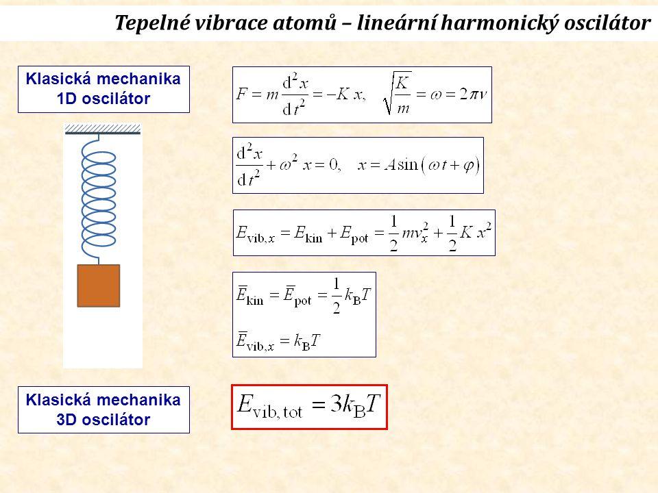 Tepelné vibrace atomů – lineární harmonický oscilátor Klasická mechanika 1D oscilátor Klasická mechanika 3D oscilátor