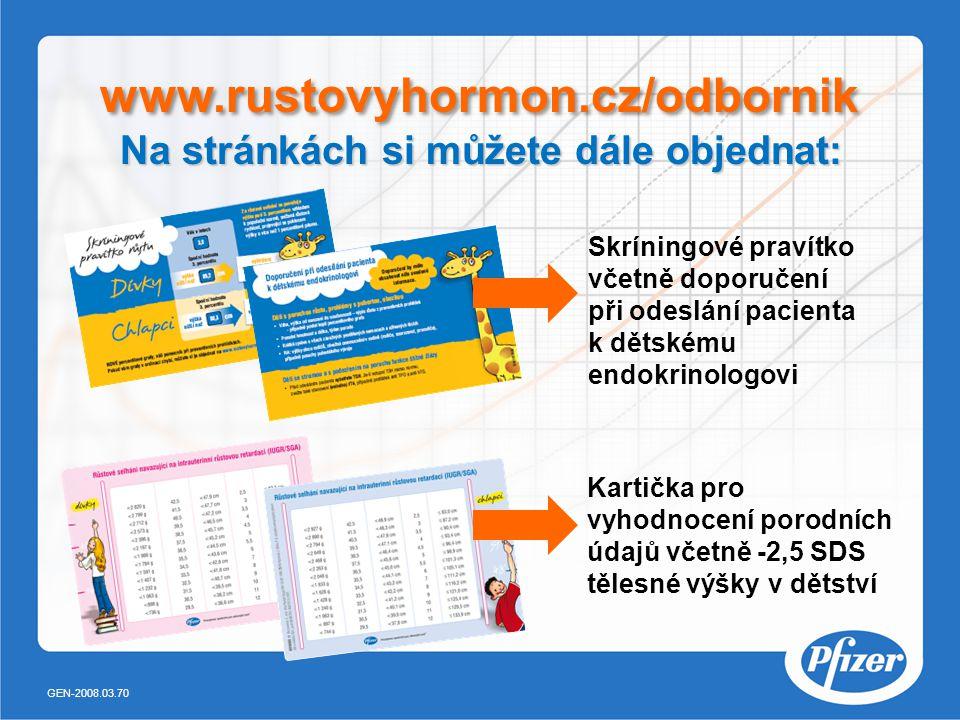 Na stránkách si můžete dále objednat: www.rustovyhormon.cz/odbornik Skríningové pravítko včetně doporučení při odeslání pacienta k dětskému endokrinologovi Kartička pro vyhodnocení porodních údajů včetně -2,5 SDS tělesné výšky v dětství GEN-2008.03.70