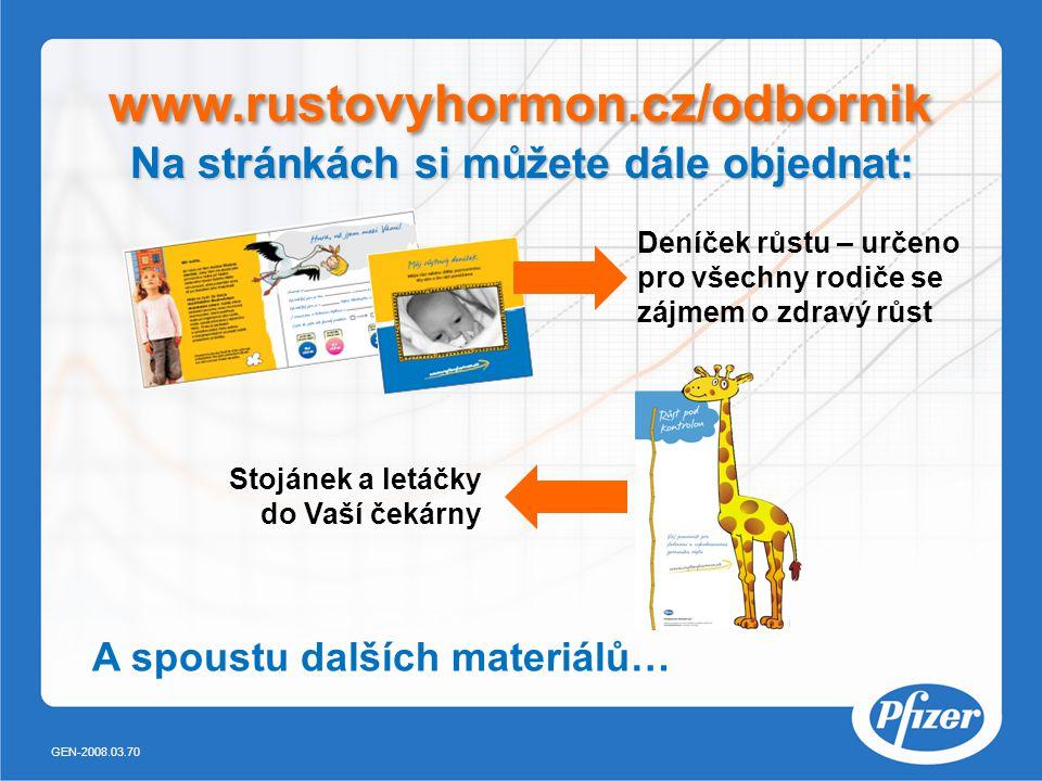 Deníček růstu – určeno pro všechny rodiče se zájmem o zdravý růst Stojánek a letáčky do Vaší čekárny A spoustu dalších materiálů… www.rustovyhormon.cz