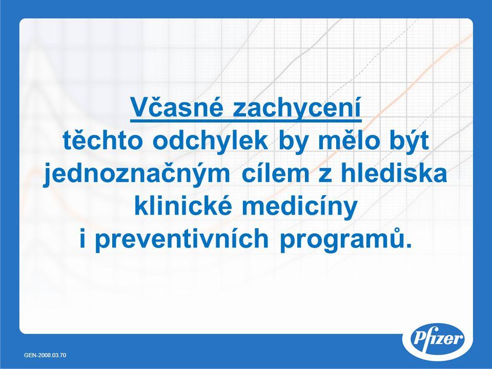 Včasné zachycení těchto odchylek by mělo být jednoznačným cílem z hlediska klinické medicíny i preventivních programů. GEN-2008.03.70