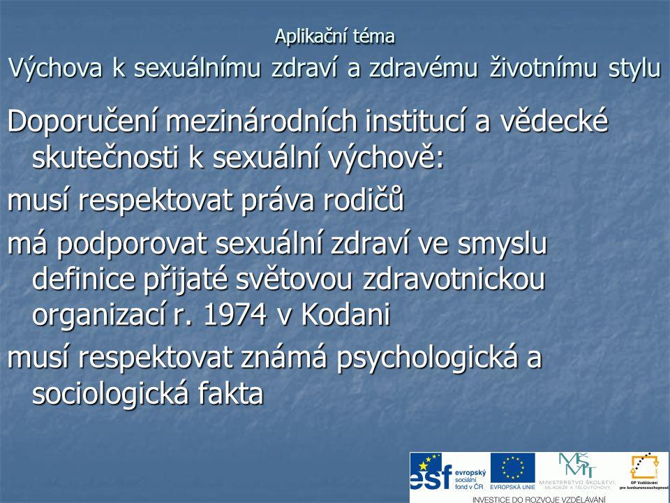 Aplikační téma Výchova k sexuálnímu zdraví a zdravému životnímu stylu Fakta: Předčasný sex vede k promiskuitě předčasný sex nedovolí rozvinutí vyšších citů jako jsou porozumění, empatie, prosociální postoje apod Předčasný sex také často poškozuje organismus dívky Světová zdravotnická organizace (WHO) jako nejúčinnější cestu prevence AIDS doporučuje zdrženlivost