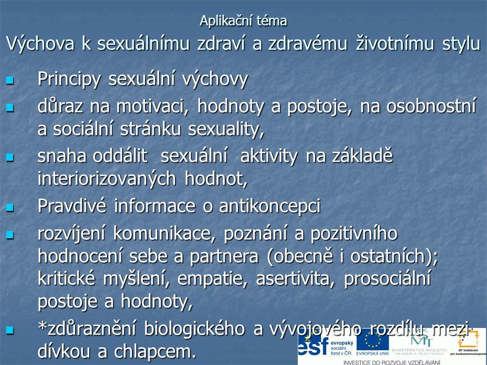 Aplikační téma Výchova k sexuálnímu zdraví a zdravému životnímu stylu  Principy sexuální výchovy  důraz na motivaci, hodnoty a postoje, na osobnostn