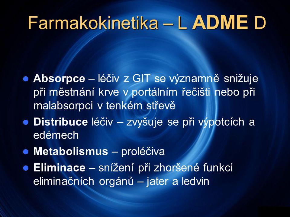 Farmakokinetika – L ADME D  Absorpce – léčiv z GIT se významně snižuje při městnání krve v portálním řečišti nebo při malabsorpci v tenkém střevě  Distribuce léčiv – zvyšuje se při výpotcích a edémech  Metabolismus – proléčiva  Eliminace – snížení při zhoršené funkci eliminačních orgánů – jater a ledvin