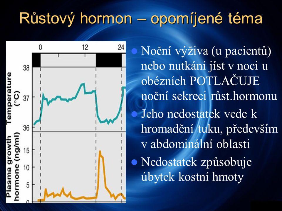 Růstový hormon – opomíjené téma  Noční výživa (u pacientů) nebo nutkání jíst v noci u obézních POTLAČUJE noční sekreci růst.hormonu  Jeho nedostatek vede k hromadění tuku, především v abdominální oblasti  Nedostatek způsobuje úbytek kostní hmoty
