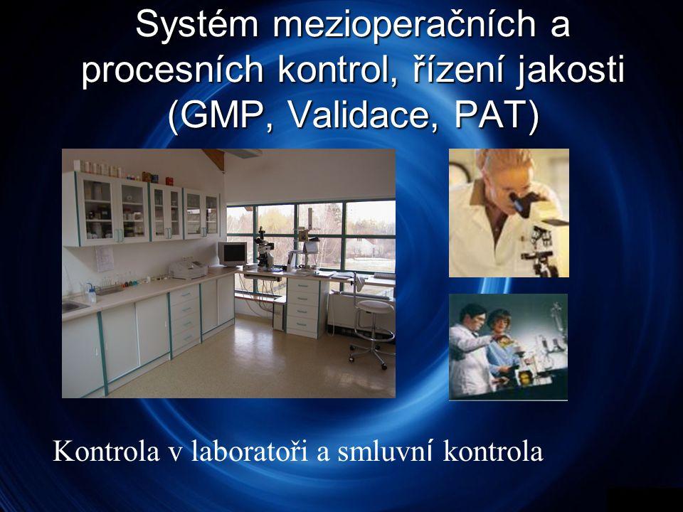 Systém mezioperačních a procesních kontrol, řízení jakosti (GMP, Validace, PAT) Kontrola v laboratoři a smluvn í kontrola