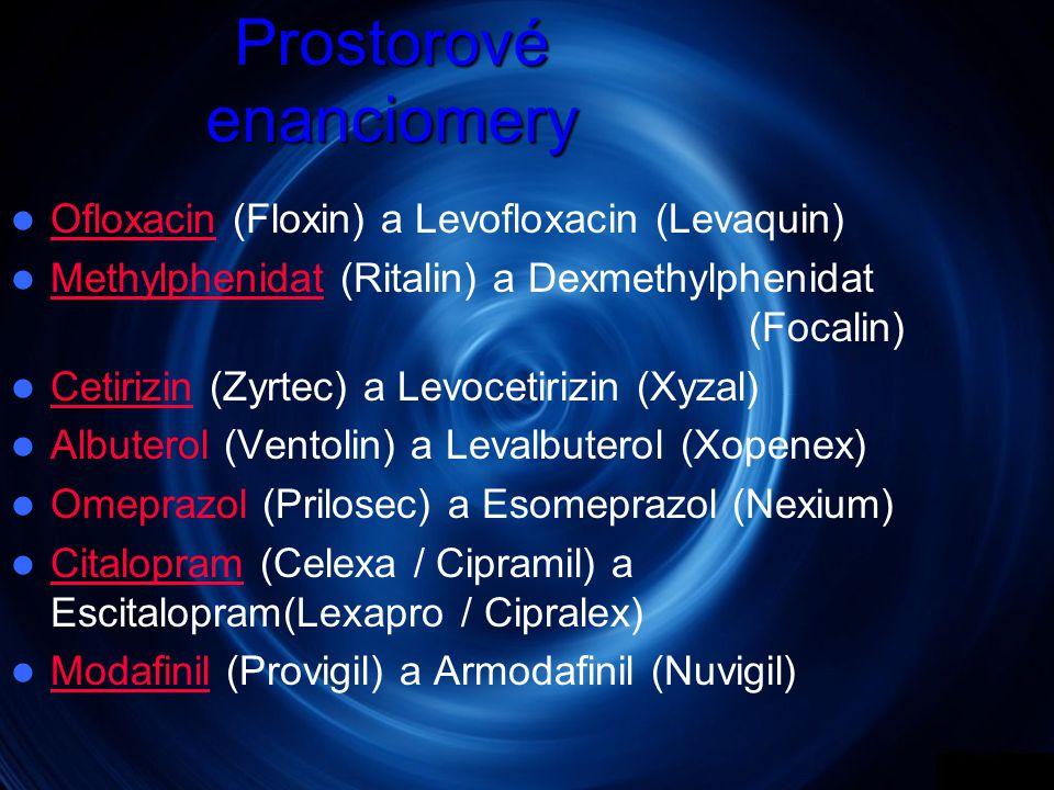 Prostorové enanciomery  Ofloxacin (Floxin) a Levofloxacin (Levaquin)  Methylphenidat (Ritalin) a Dexmethylphenidat (Focalin) Methylphenidat  Cetirizin (Zyrtec) a Levocetirizin (Xyzal)  Albuterol (Ventolin) a Levalbuterol (Xopenex)  Omeprazol (Prilosec) a Esomeprazol (Nexium)  Citalopram (Celexa / Cipramil) a Escitalopram(Lexapro / Cipralex) Citalopram  Modafinil (Provigil) a Armodafinil (Nuvigil) Modafinil