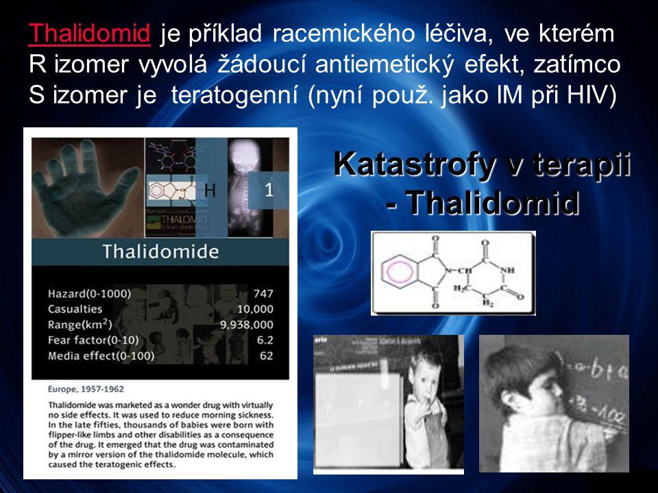 Katastrofy v terapii - Thalidomid ThalidomidThalidomid je příklad racemického léčiva, ve kterém R izomer vyvolá žádoucí antiemetický efekt, zatímco S izomer je teratogenní (nyní použ.
