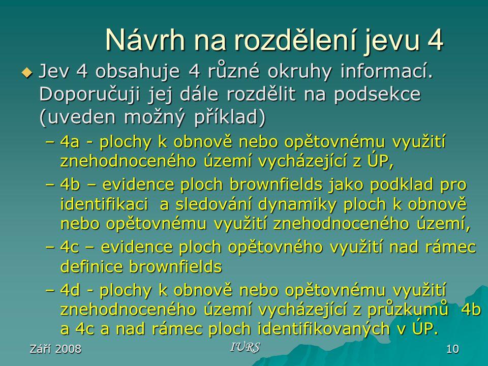 Září 2008 IURS 10 Návrh na rozdělení jevu 4  Jev 4 obsahuje 4 různé okruhy informací.