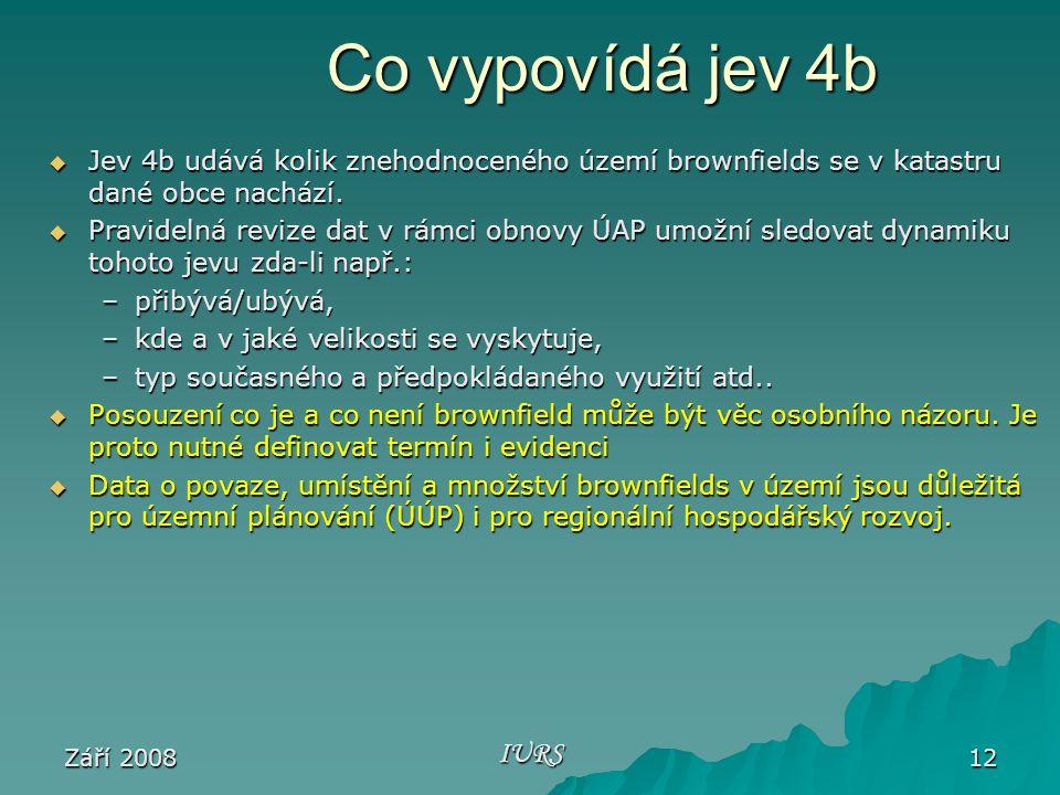 Září 2008 IURS 12 Co vypovídá jev 4b  Jev 4b udává kolik znehodnoceného území brownfields se v katastru dané obce nachází.