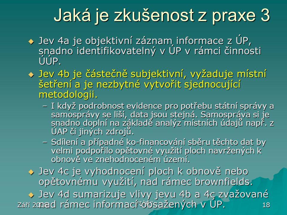 Září 2008 IURS 18 Jaká je zkušenost z praxe 3  Jev 4a je objektivní záznam informace z ÚP, snadno identifikovatelný v ÚP v rámci činnosti ÚÚP.