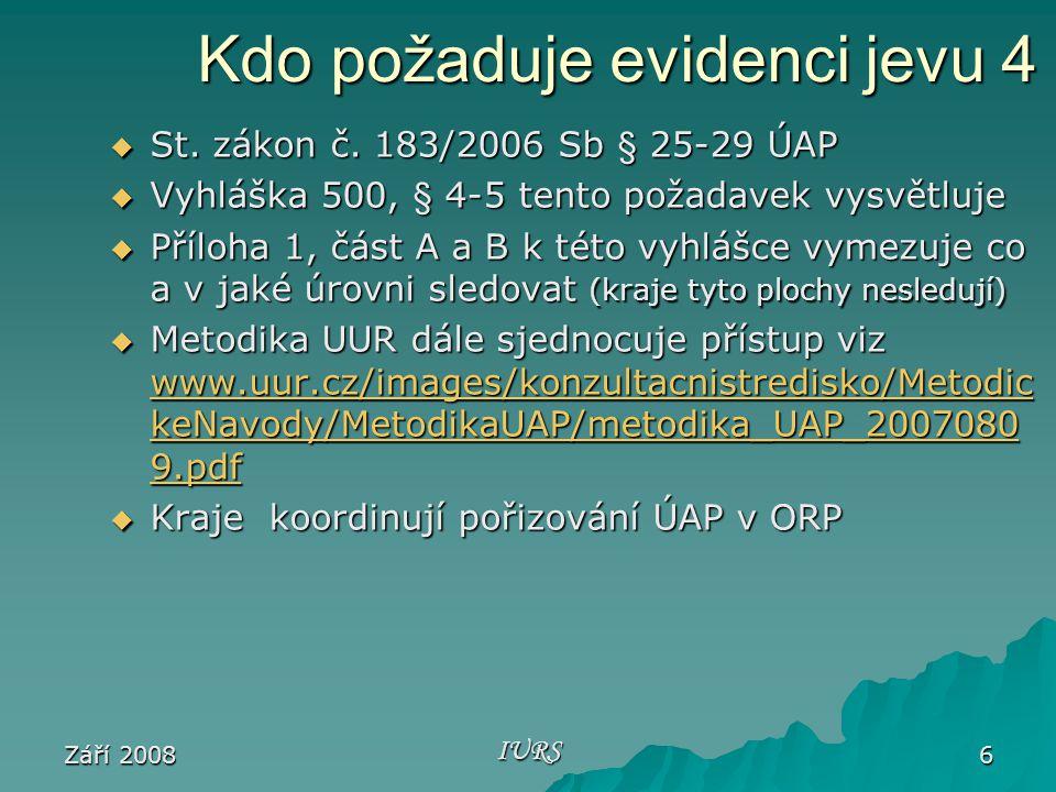 Září 2008 IURS 6 Kdo požaduje evidenci jevu 4  St.