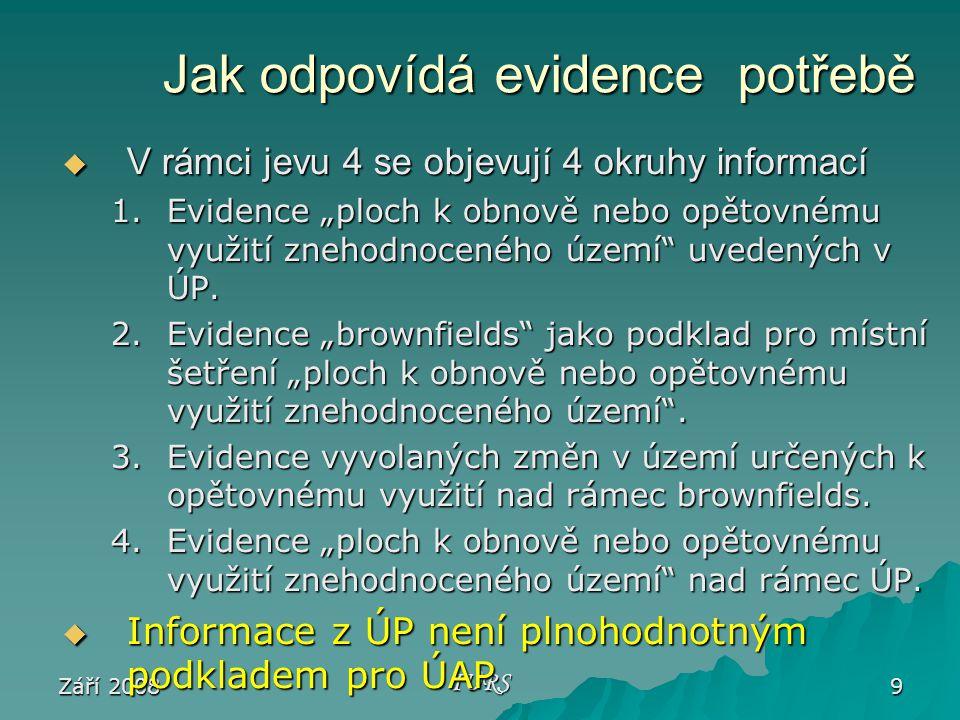 """Září 2008 IURS 9 Jak odpovídá evidence potřebě Jak odpovídá evidence potřebě  V rámci jevu 4 se objevují 4 okruhy informací 1.Evidence """"ploch k obnově nebo opětovnému využití znehodnoceného území uvedených v ÚP."""