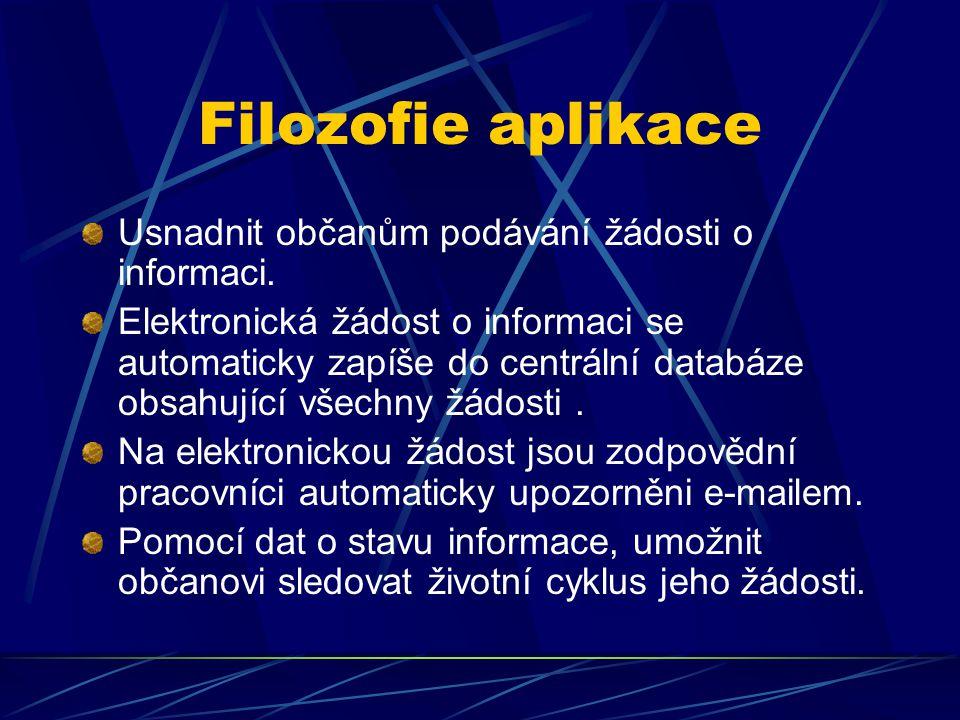 Filozofie aplikace Usnadnit občanům podávání žádosti o informaci. Elektronická žádost o informaci se automaticky zapíše do centrální databáze obsahují
