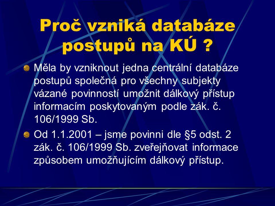 Proč vzniká databáze postupů na KÚ .