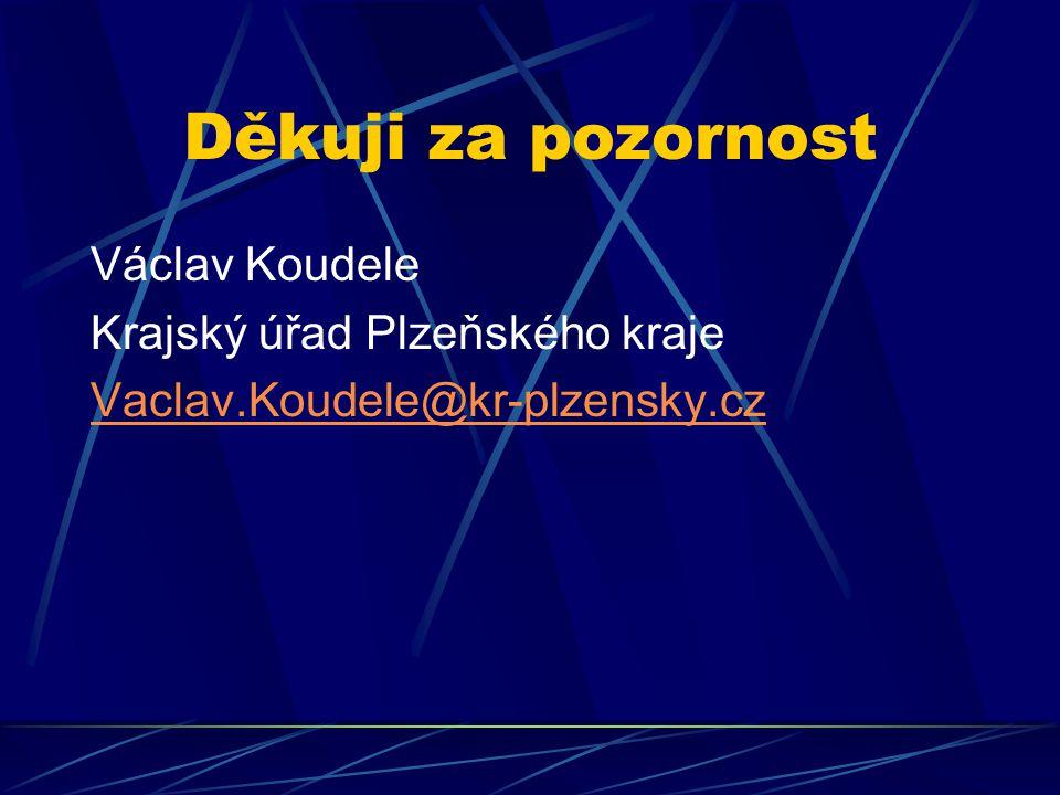 Děkuji za pozornost Václav Koudele Krajský úřad Plzeňského kraje Vaclav.Koudele@kr-plzensky.cz