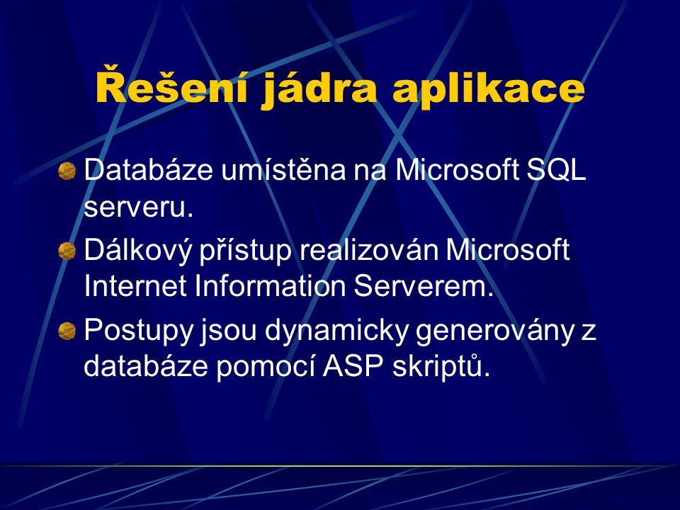 Řešení jádra aplikace Databáze umístěna na Microsoft SQL serveru. Dálkový přístup realizován Microsoft Internet Information Serverem. Postupy jsou dyn