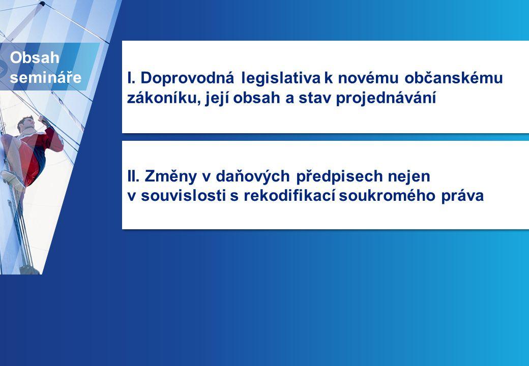 Obsah semináře I. Doprovodná legislativa k novému občanskému zákoníku, její obsah a stav projednávání II. Změny v daňových předpisech nejen v souvislo