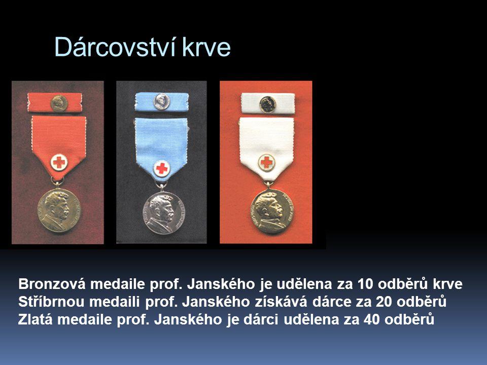 Dárcovství krve Bronzová medaile prof. Janského je udělena za 10 odběrů krve Stříbrnou medaili prof. Janského získává dárce za 20 odběrů Zlatá medaile