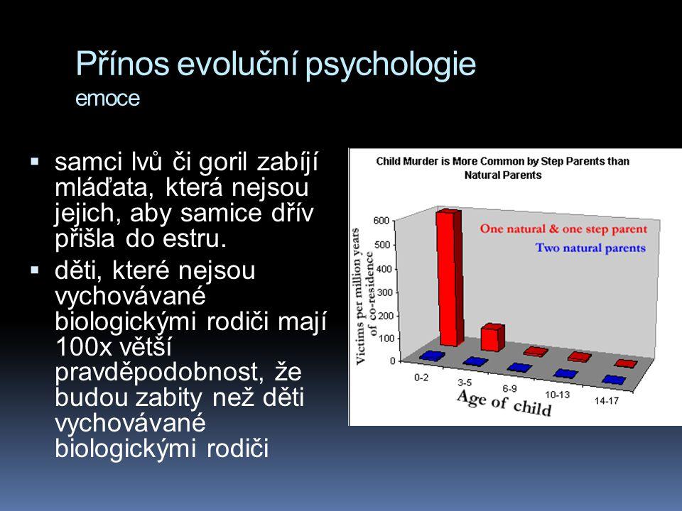 Přínos evoluční psychologie emoce  samci lvů či goril zabíjí mláďata, která nejsou jejich, aby samice dřív přišla do estru.  děti, které nejsou vych