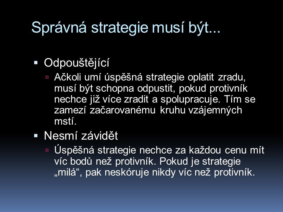 Správná strategie musí být...  Odpouštějící  Ačkoli umí úspěšná strategie oplatit zradu, musí být schopna odpustit, pokud protivník nechce již více