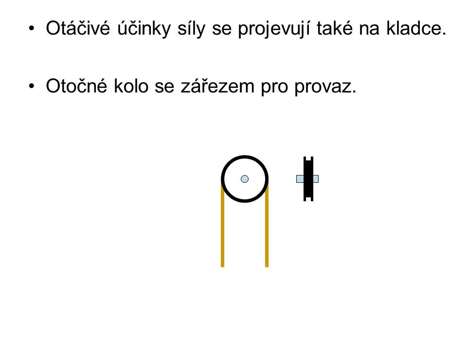 •Otáčivé účinky síly se projevují také na kladce. •Otočné kolo se zářezem pro provaz.