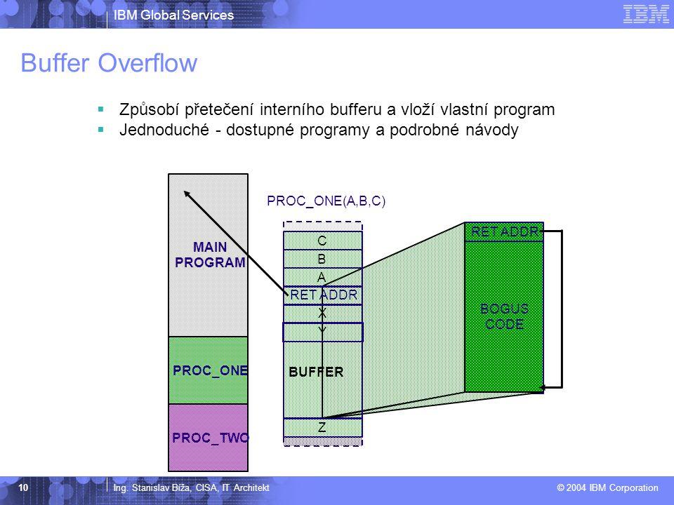 IBM Global Services Ing. Stanislav Bíža, CISA, IT Architekt © 2004 IBM Corporation 10 Buffer Overflow  Způsobí přetečení interního bufferu a vloží vl