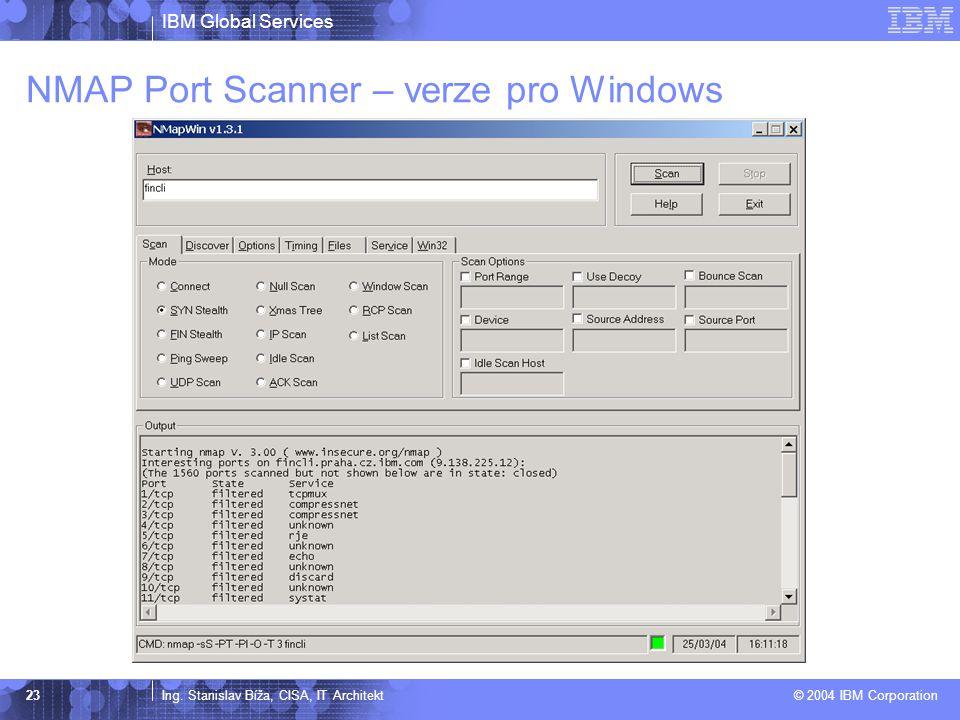 IBM Global Services Ing. Stanislav Bíža, CISA, IT Architekt © 2004 IBM Corporation 23 NMAP Port Scanner – verze pro Windows