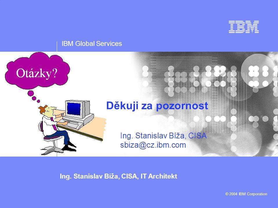 IBM Global Services Ing. Stanislav Bíža, CISA, IT Architekt © 2004 IBM Corporation Děkuji za pozornost Ing. Stanislav Bíža, CISA sbiza@cz.ibm.com Clos