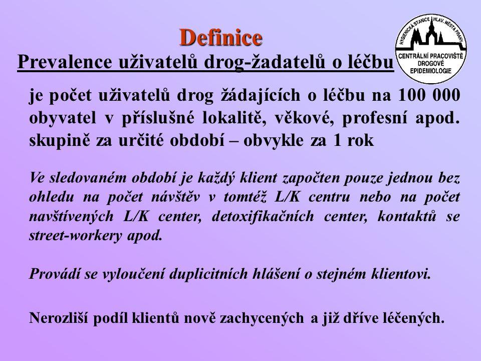 Definice Prevalence uživatelů drog-žadatelů o léčbu je počet uživatelů drog žádajících o léčbu na 100 000 obyvatel v příslušné lokalitě, věkové, profesní apod.