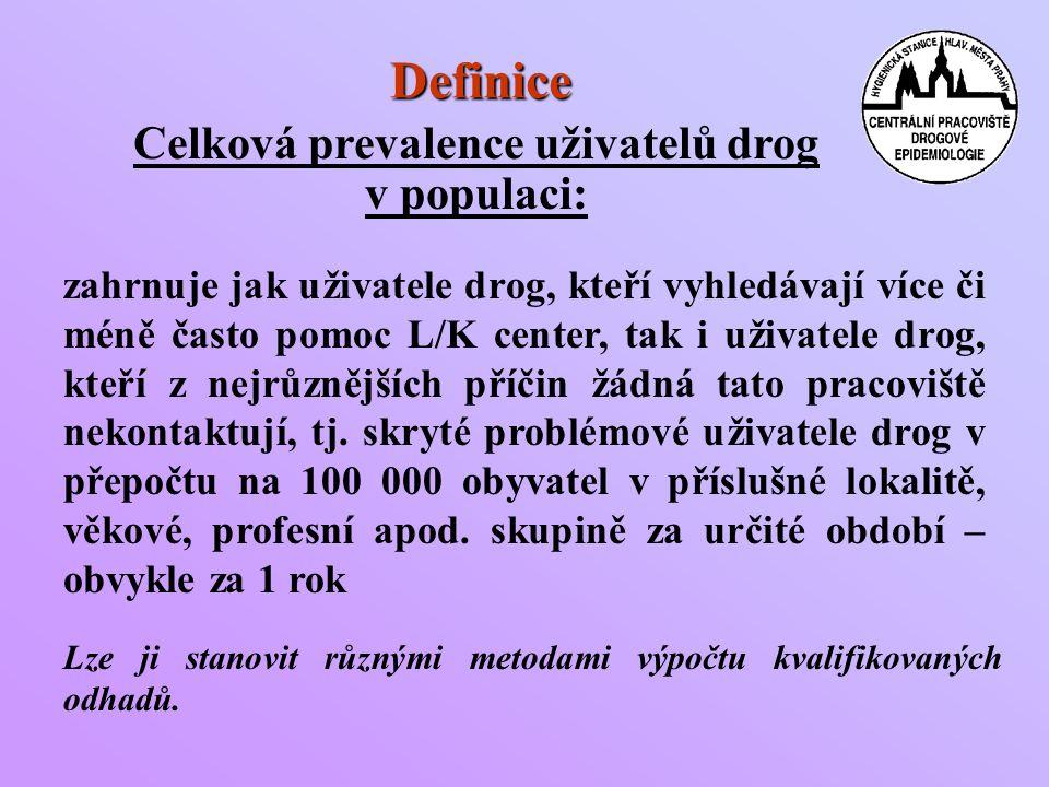Definice Celková prevalence uživatelů drog v populaci: zahrnuje jak uživatele drog, kteří vyhledávají více či méně často pomoc L/K center, tak i uživatele drog, kteří z nejrůznějších příčin žádná tato pracoviště nekontaktují, tj.