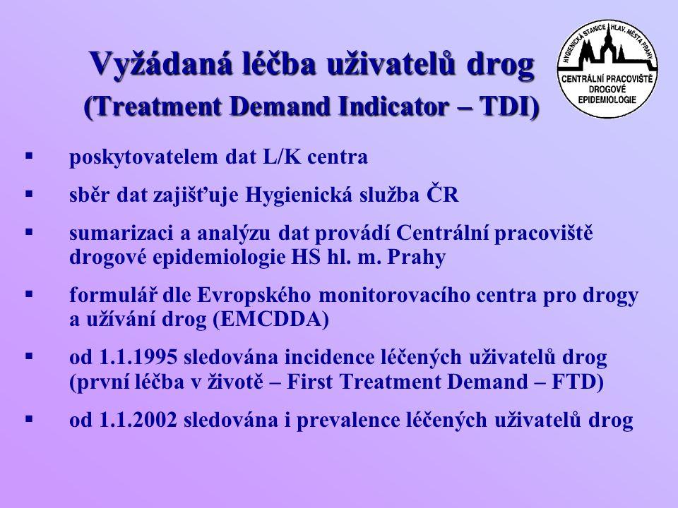 Vyžádaná léčba uživatelů drog (Treatment Demand Indicator – TDI)  poskytovatelem dat L/K centra  sběr dat zajišťuje Hygienická služba ČR  sumarizaci a analýzu dat provádí Centrální pracoviště drogové epidemiologie HS hl.