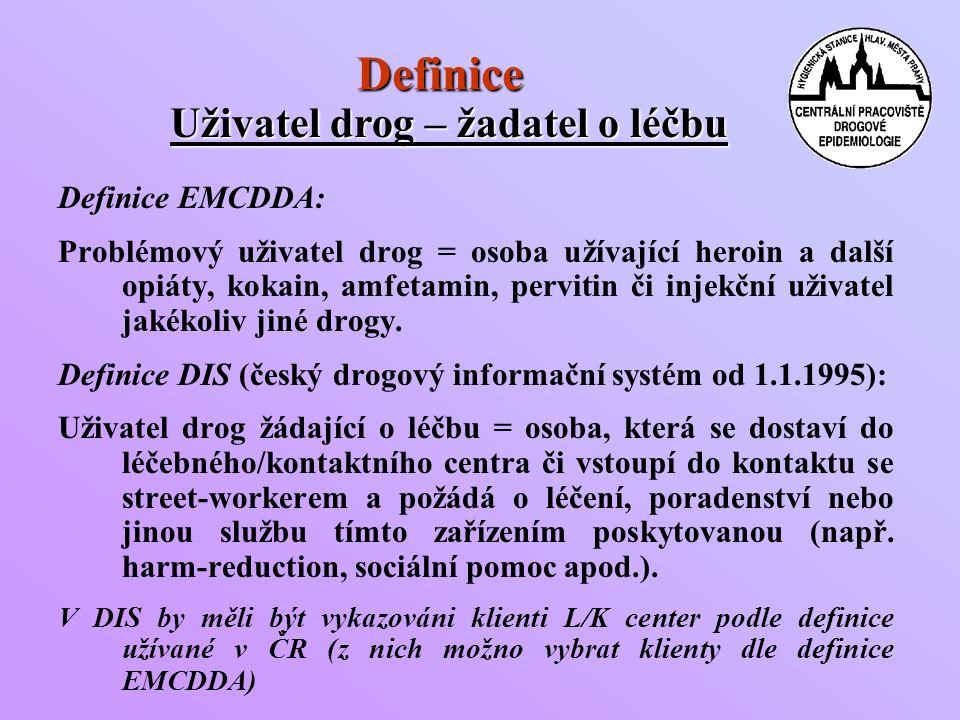 Definice Definice EMCDDA: Problémový uživatel drog = osoba užívající heroin a další opiáty, kokain, amfetamin, pervitin či injekční uživatel jakékoliv jiné drogy.