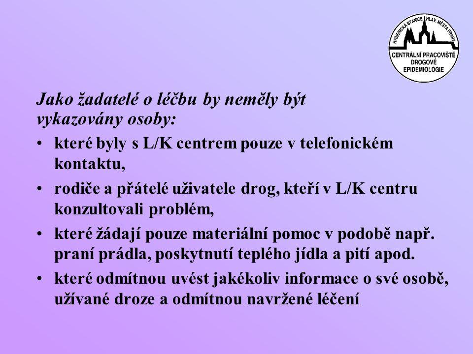 •které byly s L/K centrem pouze v telefonickém kontaktu, •rodiče a přátelé uživatele drog, kteří v L/K centru konzultovali problém, •které žádají pouze materiální pomoc v podobě např.