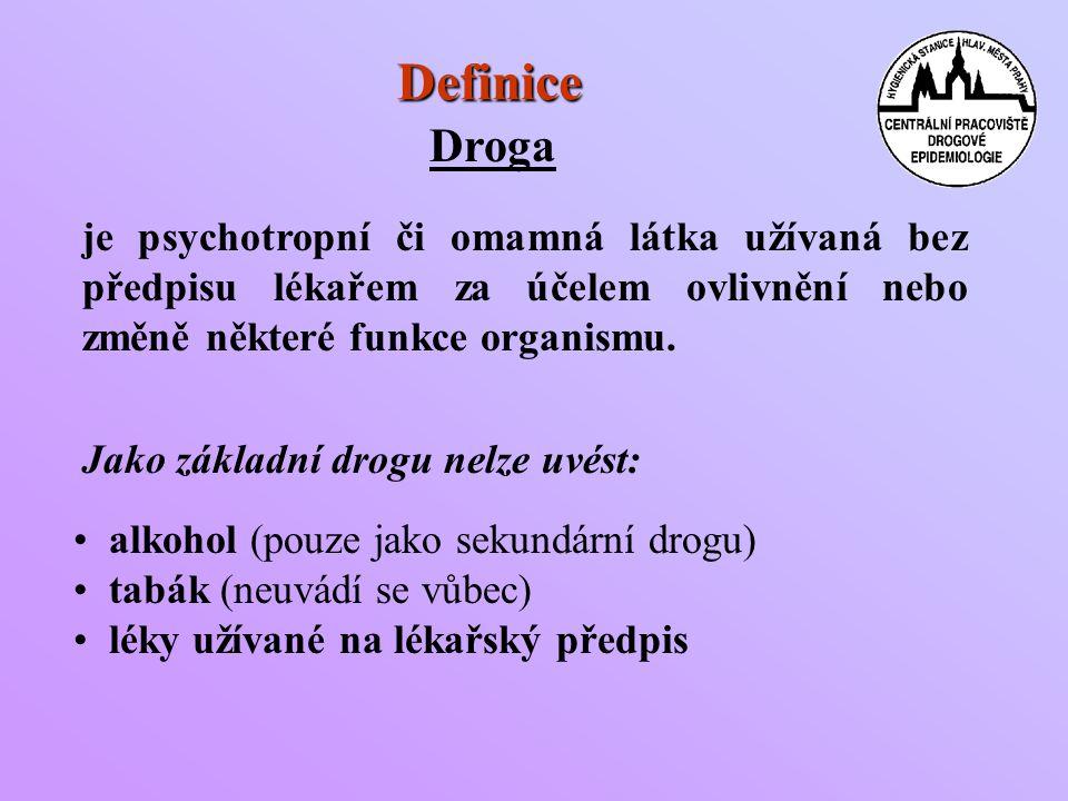 Definice Droga je psychotropní či omamná látka užívaná bez předpisu lékařem za účelem ovlivnění nebo změně některé funkce organismu.