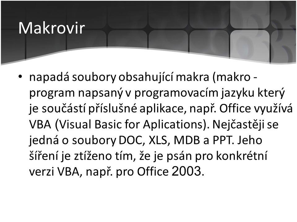 Makrovir • napadá soubory obsahující makra (makro - program napsaný v programovacím jazyku který je součástí příslušné aplikace, např. Office využívá
