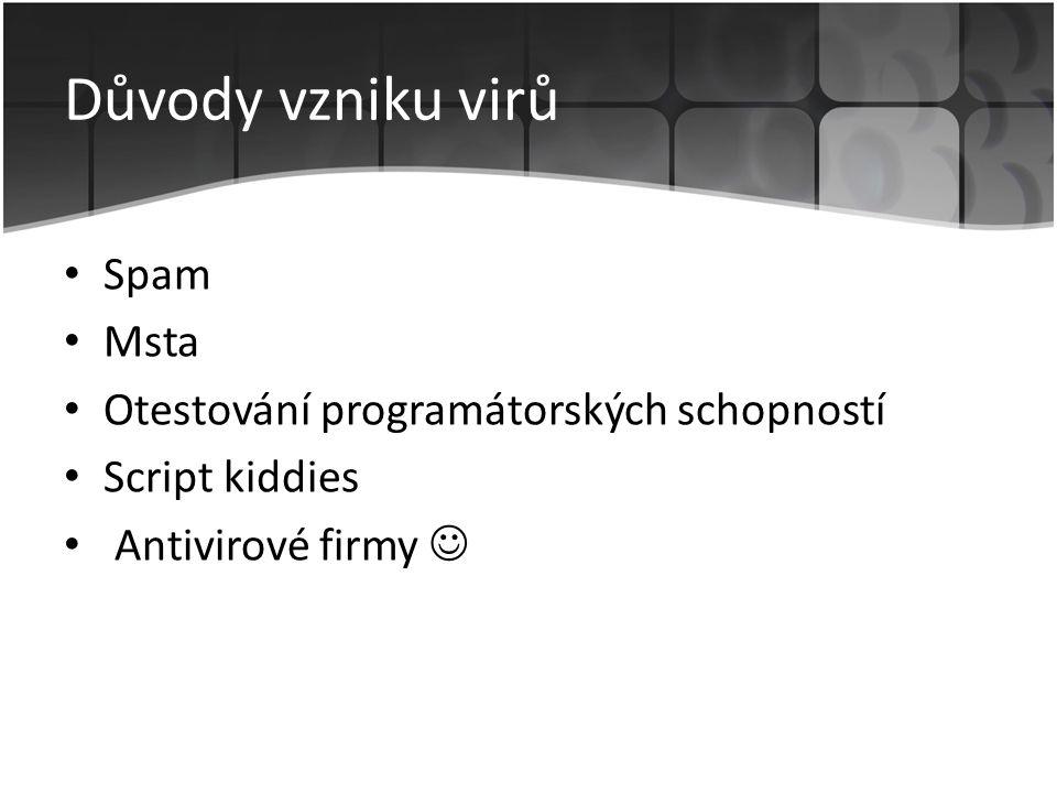 Důvody vzniku virů • Spam • Msta • Otestování programátorských schopností • Script kiddies • Antivirové firmy 