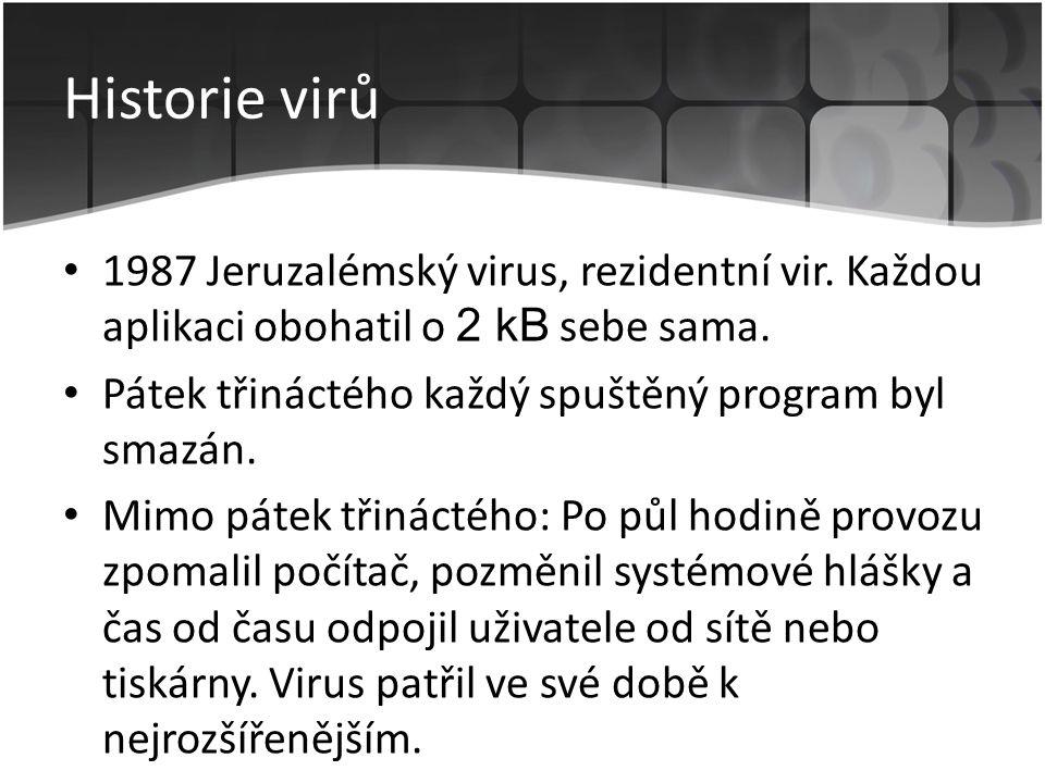 Historie virů • 1987 Jeruzalémský virus, rezidentní vir. Každou aplikaci obohatil o 2 kB sebe sama. • Pátek třináctého každý spuštěný program byl smaz