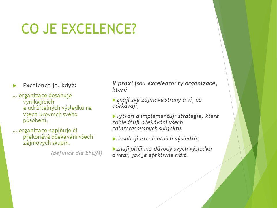 CO JE EXCELENCE?  Excelence je, když: … organizace dosahuje vynikajících a udržitelných výsledků na všech úrovních svého působení, … organizace naplň