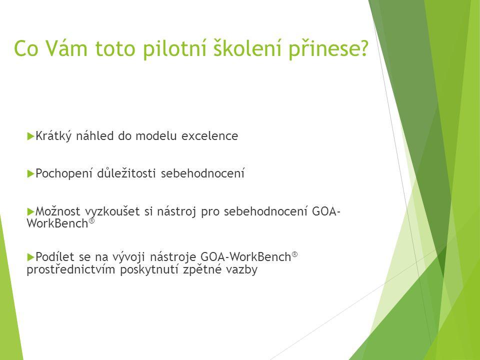 Co Vám toto pilotní školení přinese?  Krátký náhled do modelu excelence  Pochopení důležitosti sebehodnocení  Možnost vyzkoušet si nástroj pro sebe