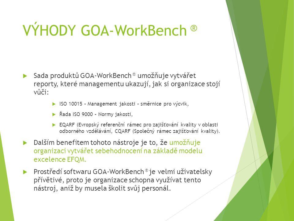 VÝHODY GOA-WorkBench ®  Sada produktů GOA-WorkBench ® umožňuje vytvářet reporty, které managementu ukazují, jak si organizace stojí vůči:  ISO 10015