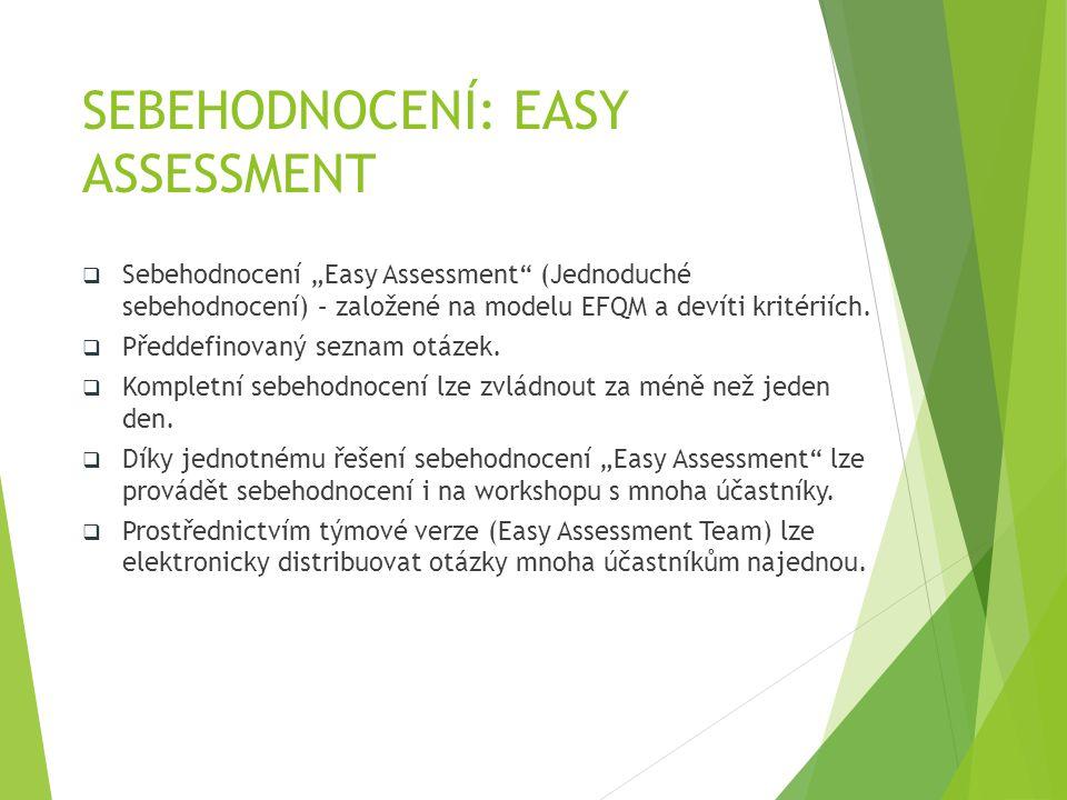 """SEBEHODNOCENÍ: EASY ASSESSMENT  Sebehodnocení """"Easy Assessment"""" (Jednoduché sebehodnocení) – založené na modelu EFQM a devíti kritériích.  Předdefin"""