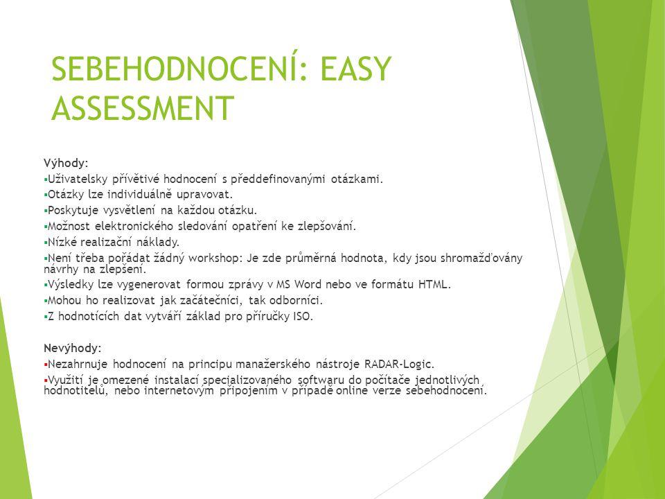 SEBEHODNOCENÍ: EASY ASSESSMENT Výhody:  Uživatelsky přívětivé hodnocení s předdefinovanými otázkami.  Otázky lze individuálně upravovat.  Poskytuje