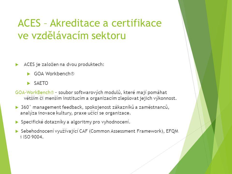 ACES – Akreditace a certifikace ve vzdělávacím sektoru  ACES je založen na dvou produktech:  GOA Workbench®  SAETO GOA-WorkBench® - soubor softwaro
