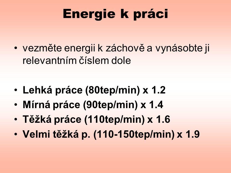 Energie k práci •vezměte energii k záchově a vynásobte ji relevantním číslem dole •Lehká práce (80tep/min) x 1.2 •Mírná práce (90tep/min) x 1.4 •Těžká práce (110tep/min) x 1.6 •Velmi těžká p.