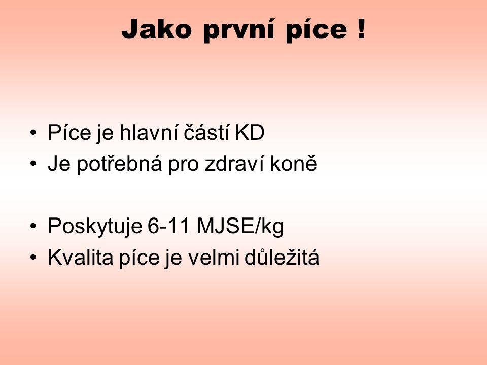 Jako první píce ! •Píce je hlavní částí KD •Je potřebná pro zdraví koně •Poskytuje 6-11 MJSE/kg •Kvalita píce je velmi důležitá