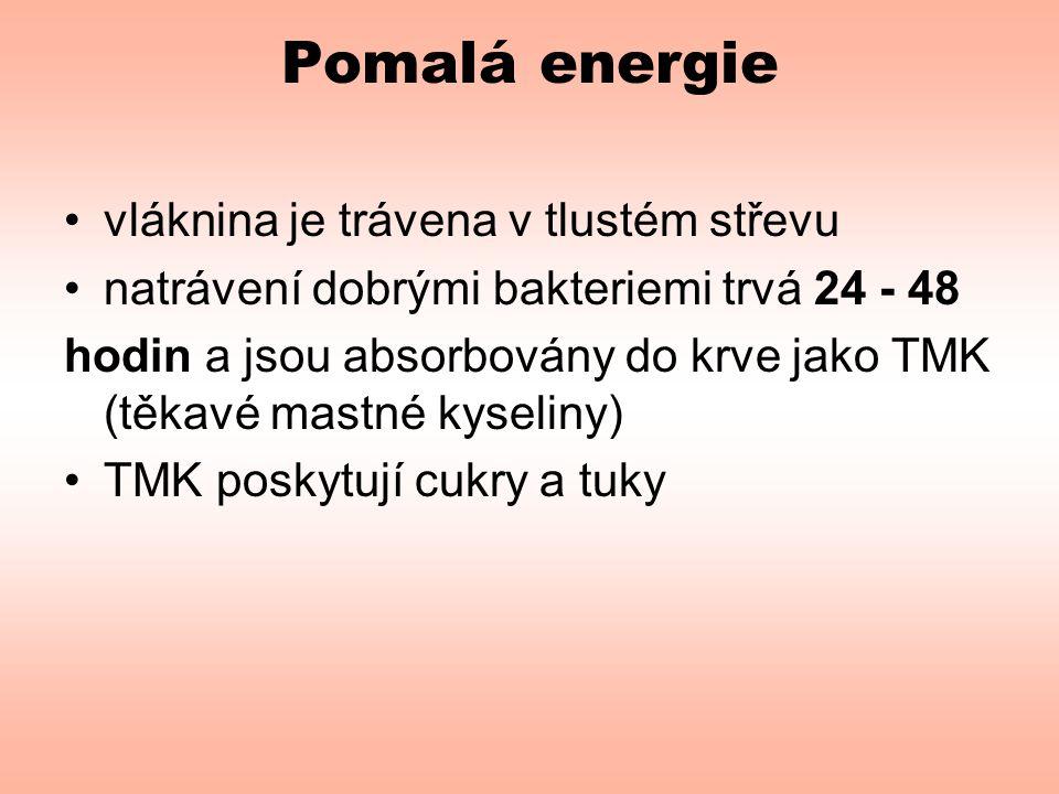 Pomalá energie •vláknina je trávena v tlustém střevu •natrávení dobrými bakteriemi trvá 24 - 48 hodin a jsou absorbovány do krve jako TMK (těkavé mast