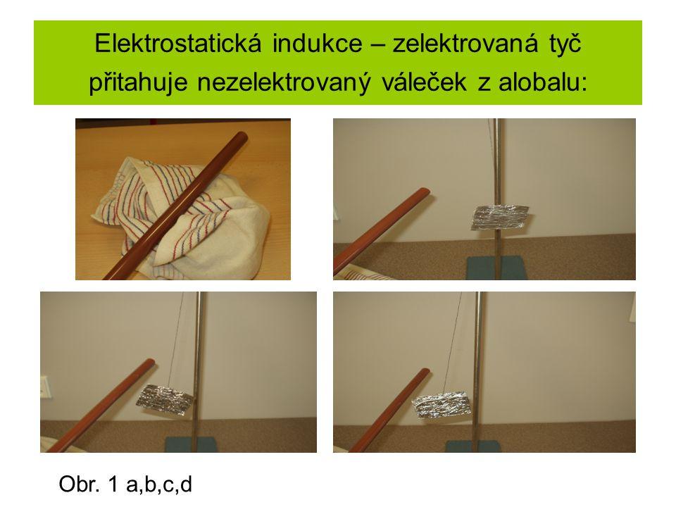 Elektrostatická indukce – zelektrovaná tyč přitahuje nezelektrovaný váleček z alobalu: Obr.